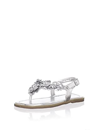L'Amour Shoes Kid's Metallic Flower Thong Sandal (Silver)
