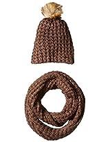 La Fiorentina Women's Chunky Knit Hat with Pom and Muffler 2 Piece Set, French Roast, One Size