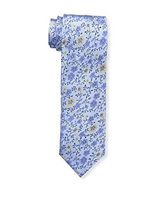 Bruno Piattelli Men's Slim Floral Tie, Blue Gold