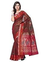 Manvi Traditional Brown South Indian Cotton Silk Saree ( Brown ) (MSCAS1014)