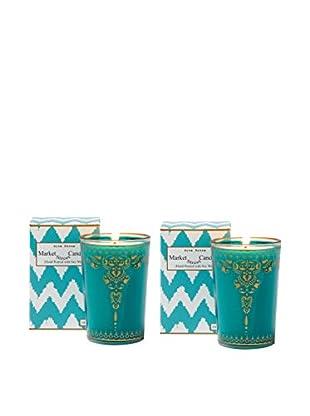 Market Street Candles Set of 2 Fresh Cut Grass Scented Moroccan Henna Candles, Aqua