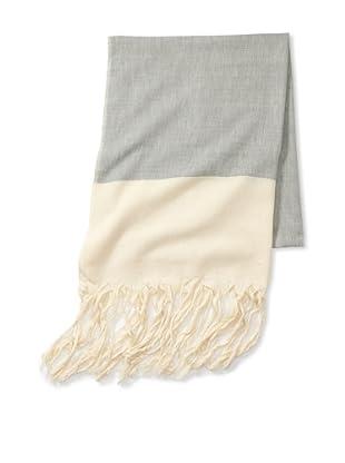 Mili Designs Women's Essouria Striped Cotton Scarf (Grey/Cream)