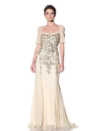 Badgley Mischka Women's Short Sleeve Gown with 3-Dimensional Sequins (Champagne)