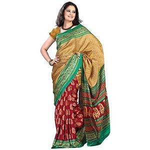 Printed sarees - Fabdeal Gold & Red Pashmina Printed Saree