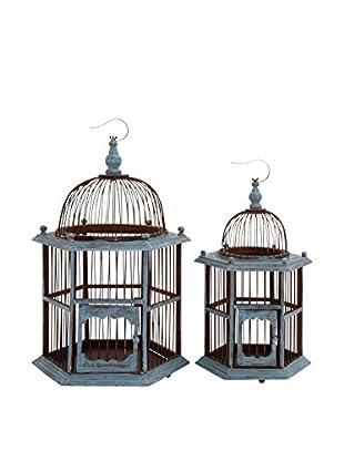 Set of 2 Wood Birdcages