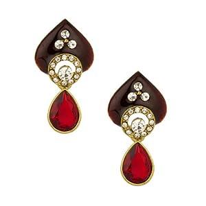 Voylla Gold Plated Beetel Leaf Design Cz Earrings With Maroon Meenakari Work