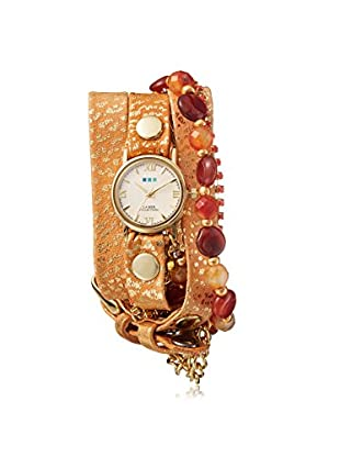 La Mer Collections Women's Gold Sparkle/White Genuine Italian Leather Watch