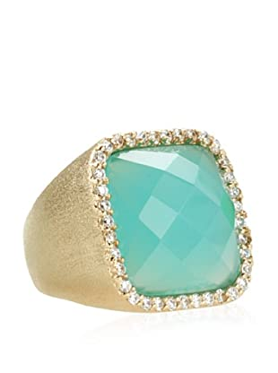 Rivka Friedman Faceted Cushion Mint Chalcedony Crystal Ring