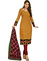 Shree Ganesh Women's Cotton Unstitched Dress Material (DSG302_Yellow_Free Size)