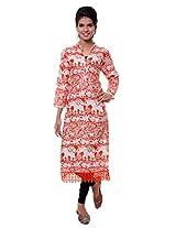 TeeMoods Womens Long Printed Kurti with Long Sleeves_TM-1573-ORG-XL