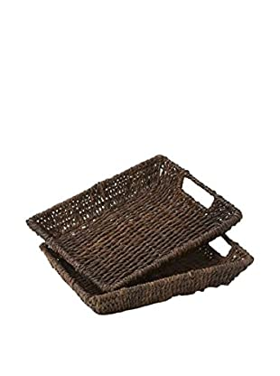 Woodard & Charles Set of 2 Rectangular Trays, Brown