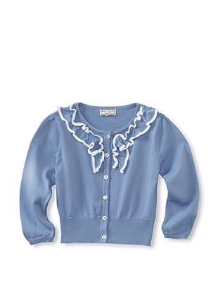 Darcy Brown London Girl's Ruffled Cardigan (Cornflower Blue/White)