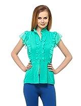 Ladybug Women's Georgina Buttoned Top (LBT564_Green_X-Large)