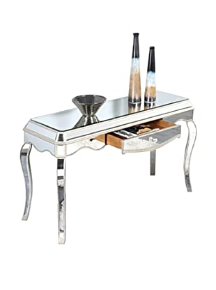 Camille Mirrored Desk, Silver Leaf