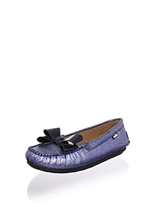 Venettini Kid's Violet Loafer (Blue Silver Embossed/Mid Blue Patent)