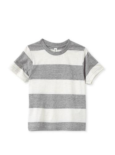 Colorfast Apparel Boy's Heathered Stripe Tee (Dark Grey/White)