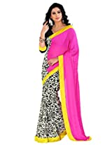 Riti Riwaz Pink & Off white Saree with Unstitched Blouse RBL120