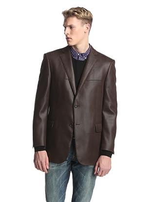 Profile Men's 2-Button Faux Leather Hybrid Blazer (Chocolate)