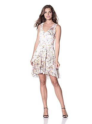 Cynthia Rowley Women's Printer Jersey Knit Vneck Dress (White Confetti)