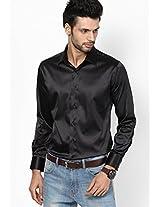 Black Slim Fit Casual Shirt V Dot