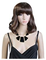 Cool2day women's short Wavy DARK BROWN curly wig ladies full wigs jf010190