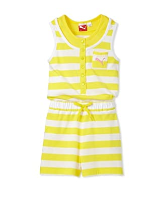 PUMA Girl's 7-16 Striped Romper (Buttercup Yellow)