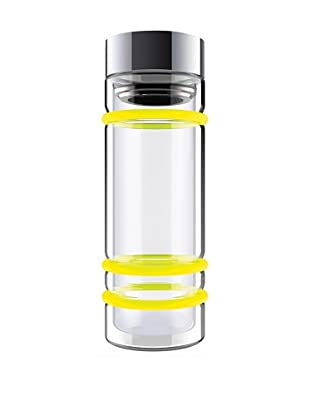 AdNArt Bumper Bottle Double Wall Glass Bottle (Yellow/Silver Lid)