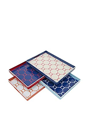 Three Hands Set of 4 Knot Pattern Trays