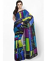 Georgette Multi Color Screen Printed Saree