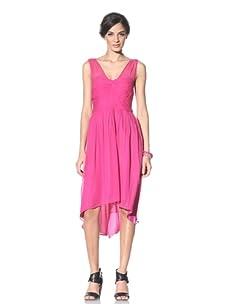 Donna Morgan Women's Ruched Chiffon Dress (Hot Pink)