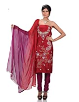 Red Chanderi Embroidery Suit Dupatta Unstitched