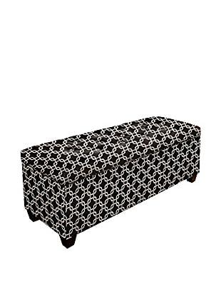 MJL Furniture Sole Secret Small Upholstered Shoe Storage Bench, Black/White