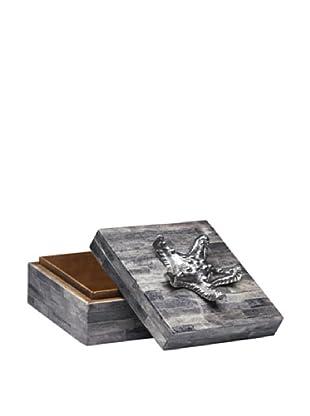 Dynasty Gallery Buffalo Horn Box with Starfish (Grey/Silver)