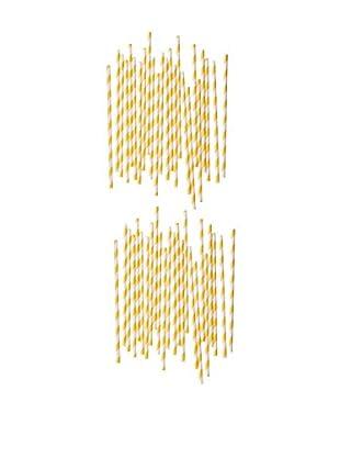 ACME Party Box Set of 48 Stripey Straws (Yellow)