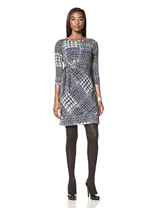 Donna Morgan Women's Addison Printed Dress with Side Tie (Peacock)