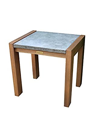 Outdoor Interiors Concrete & Eucalyptus Accent Table, Brown