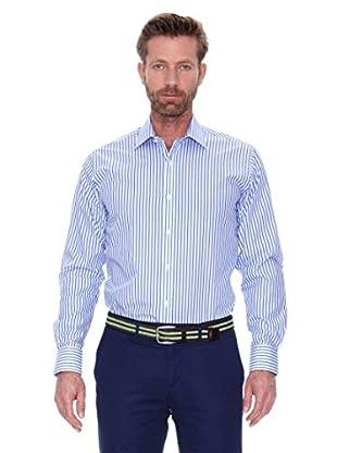 Cortefiel Camisa Fondo Fil A Fil (Azul Medio)