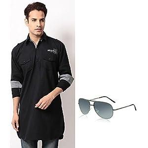 Zion Combo of Black Men Pathani Kurta With Sunglasses ZAP 212