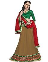 Suchi Women Net Lace Lehenga Saree (Sfyhs90151 _Brown _Free Size)