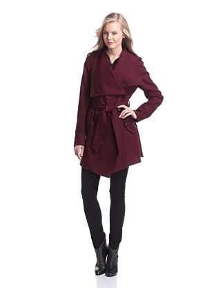 Sam Edelman Women's Kat Wool Wrap Coat with Studs (Wine)