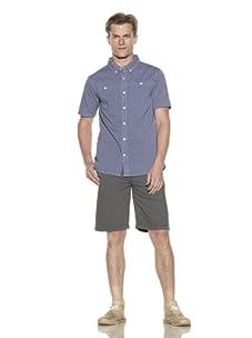 Nüco Men's Shorts Sleeve Woven Chambray Shirt (Navy)