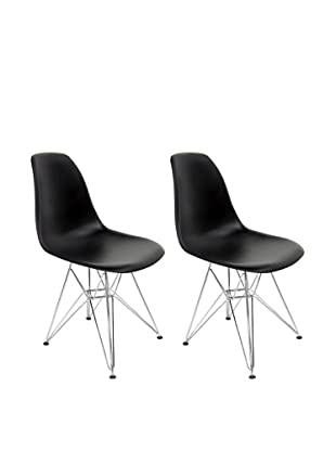 Euro Home Collection Set of 2 Paris Side Chairs, Black/Silver