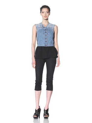 McQ by Alexander McQueen Women's Vest with Lace Insets (Light Blue)