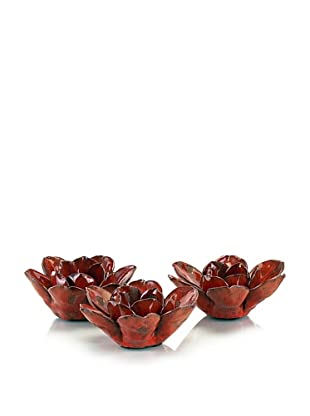 John-Richard Collection Set of Three Red Lotus Blossom Votives