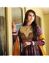 Maroon & Yellow Lawn Cotton Top With Lawn Cotton Bottom & Ciffon Dupatta Heavy Resham Embroidery Work Anarkali Salwar Kameez Suit