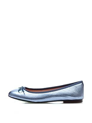 Fun&Basics Zapatos Bailarina Piel Metalica (Azul Mallorca)