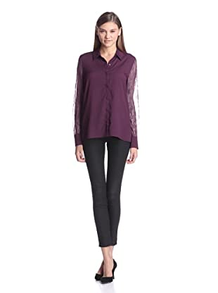 Calvin Klein Women's Long Sleeve Top With Lace Sleeves (Zinfandel)
