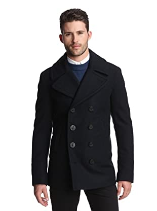 Burberry Men's Double-Breasted Peacoat (Navy)