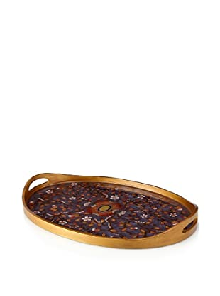 Reverse-Painted Glass Oval Tray, Purple