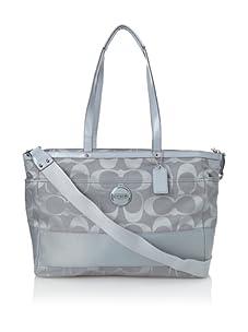 Coach Signature Stripe Baby Bag, Light Blue